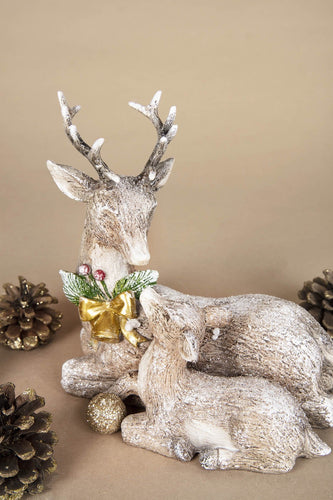 Carraig Donn HOME Christmas Ornaments Reindeer and Fawn Sitting