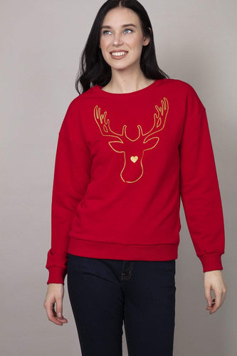 Kelly & Grace Weekend Jumpers Red / S Reindeer Christmas Sweater in Red