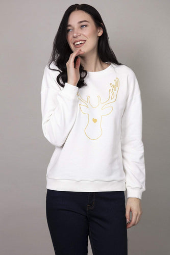 Kelly & Grace Weekend Jumpers White / S Reindeer Christmas Sweater in White