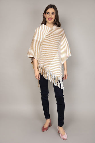 SOUL Accessories Ponchos Multi / One Reversible Colourblock Poncho in Beige & White