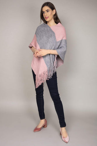 SOUL Accessories Ponchos Multi / One Reversible Colourblock Poncho in Grey & Pink