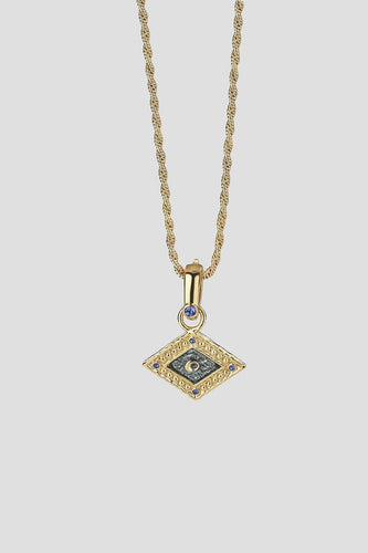 Newbridge Silverware Necklaces Rhombus Pendant with Turquoise detail in Gold