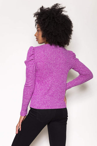 Rowen Avenue Jumpers Rib Puff Crew Neck Top in Purple