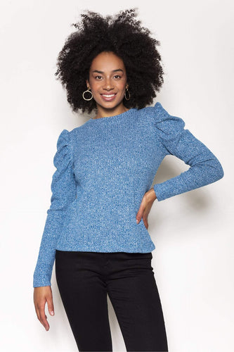 Rowen Avenue Jumpers Teal / S / Long Sleeve Rib Puff Crew Neck Top in Teal