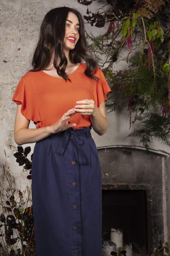 Rowen Avenue Tops Orange / S Rosabel V-Neck Frill Sleeve Top in Rust