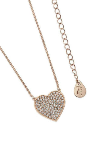 Tipperary Crystal Jewellery Necklaces Rose Gold Rose Gold Large Heart Pendant