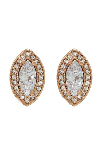 Tipperary Crystal Jewellery Earrings Rose Gold Rose Gold Marquise Cut Earrings