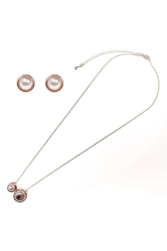 Soul Jewellery Jewellery Sets Rose Gold Rose Gold Pearl Diamante Necklace & Earring Set - SOUL Special