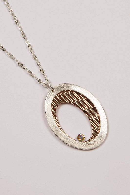 Joularie Necklaces Multi Rose Gold Scratched Circle Necklace