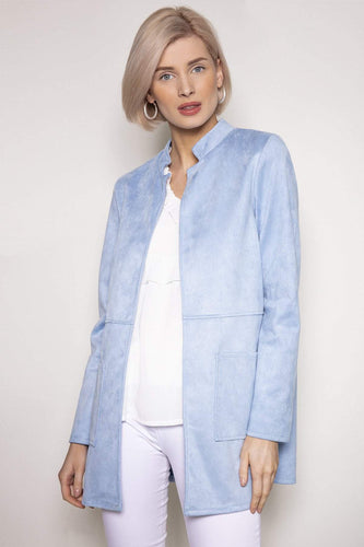 Pala D'oro Jackets Blue / S/M Round Collar Suedette Jacket in Light Blue