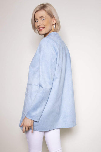 Pala D'oro Jackets Round Collar Suedette Jacket in Light Blue