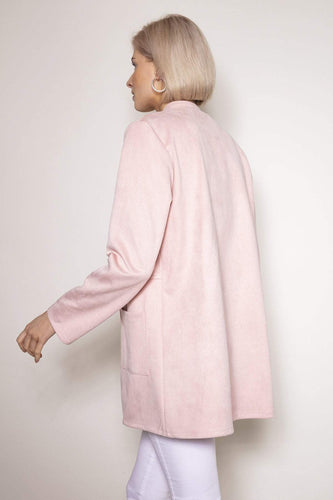 Pala D'oro Jackets Round Collar Suedette Jacket in Light Pink