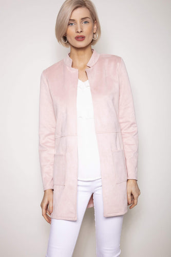Pala D'oro Jackets Pink / S/M Round Collar Suedette Jacket in Light Pink