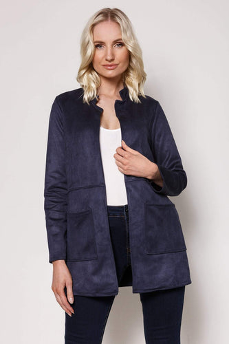 Pala D'oro Jackets Navy / S/M Round Collar Suedette Jacket in Navy