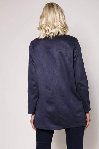Pala D'oro Jackets Round Collar Suedette Jacket in Navy