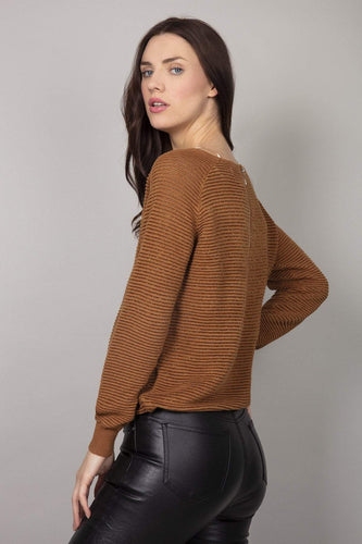 Nova of London Jumpers Round Neck Jumper in Tobacco