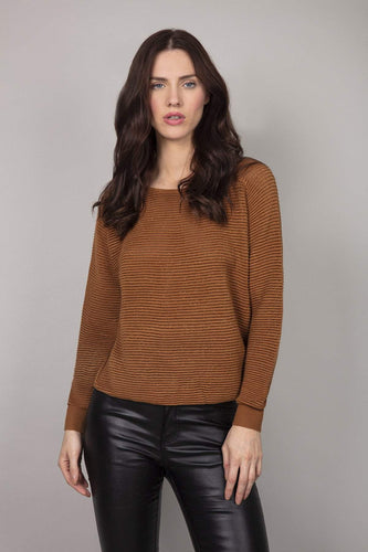 Nova of London Jumpers Mustard / S/M Round Neck Jumper in Tobacco