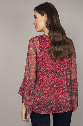 Rowen Avenue Blouses Ruffle Front Ditzy Blouse in Red