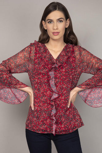 Rowen Avenue Blouses Burgundy / 10 Ruffle Front Ditzy Blouse in Red
