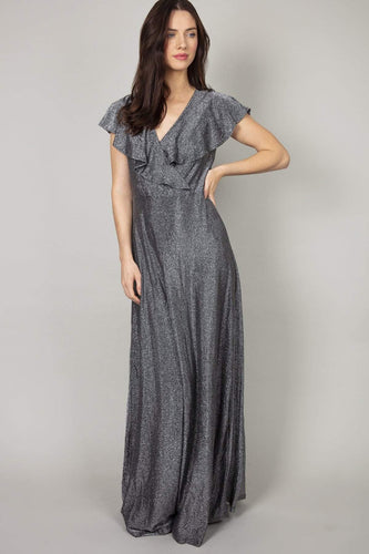 Mela London Dresses Silver / 10 / Maxi Ruffle Neck Silver Maxi Dress