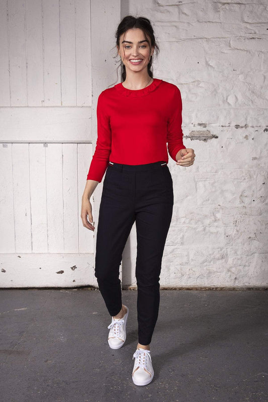 Kelly & Grace Weekend Tops Ruffle Neck Top in Red