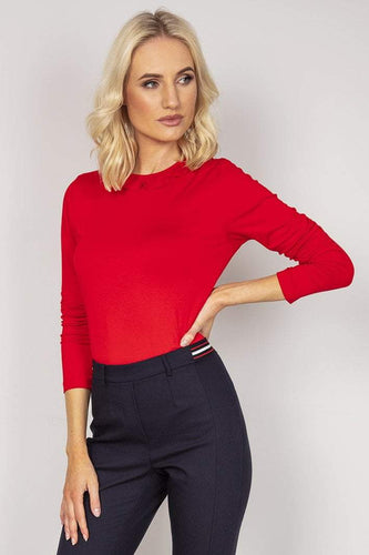 Kelly & Grace Weekend Tops Red / S Ruffle Neck Top in Red