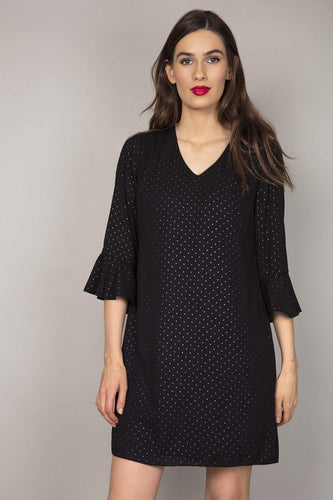 Rowen Avenue Dresses Ruffle Sleeve with Silver Dots Dress in Black