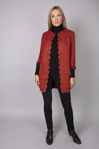Pala D'oro Coats Red / S/M Scallop Suedette Coat in Brick