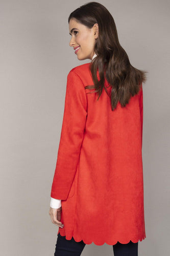 Pala D'oro Jackets Scallop Suedette Coat in Red