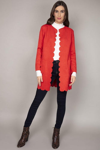 Pala D'oro Jackets Red / S/M Scallop Suedette Coat in Red