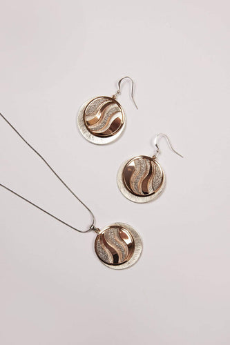 Joularie Earrings Multi Scratched Silver and Rose Gold Earrings