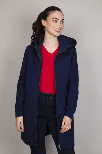 Kelly & Grace Weekend Jackets Navy / S Scuba Coat in Navy