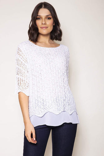 Voulez Vous Jumpers Ivory / S Sequence Knit Top in Ivory