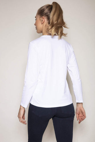 Kelly & Grace Weekend Tops Sequin Pocket Tee in Ivory