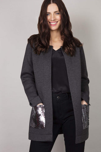 Rowen Avenue Jumpers Grey / S Sequin Pockets Coated Cardigan in Charcoal