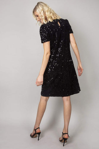 Mela London Dresses Sequin Shift Dress in Black