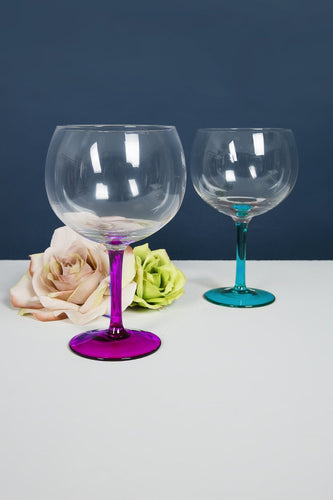 Newgrange Glasses Set of 2 Gin & Tonic Glasses in Blue & Pink