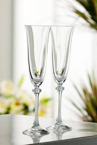 Galway Crystal Glasses Set of 2 Liberty Flutes