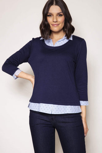 Voulez Vous Jumpers Navy / 10 Shirt Collar Knit Top in Navy
