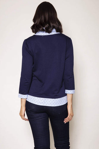 Voulez Vous Jumpers Shirt Collar Knit Top in Navy