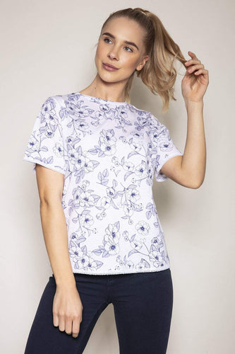 Kelly & Grace Weekend Tops White / S / Short Sleeve Short Sleeve Print Tee in Blue