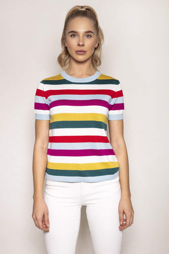 Kelly & Grace Weekend Jumpers Pink / S Short Sleeve Stripe Knit in Multi