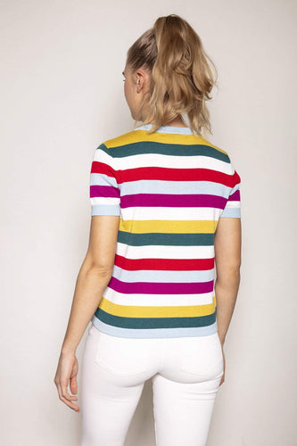 Kelly & Grace Weekend Jumpers Short Sleeve Stripe Knit in Multi