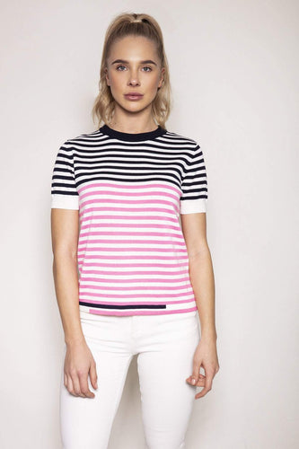 Kelly & Grace Weekend Jumpers Pink / S Short Sleeve Stripe Knit in Pink