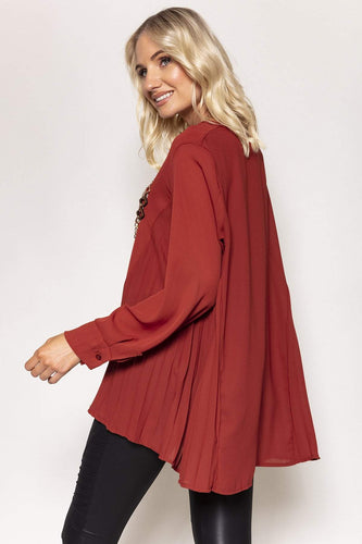 Pala D'oro Tops Side Pleat Top with Chain in Brick