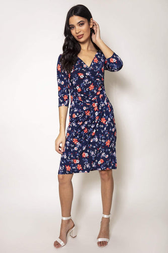 J'aime la Vie Dresses Navy / 10 / Knee length Side Ruched Dress in Navy Print