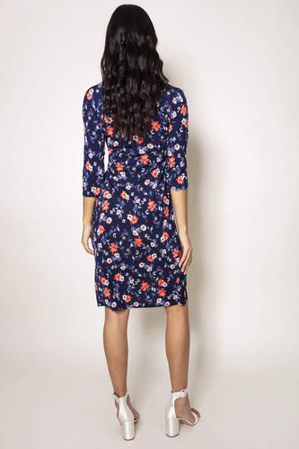 J'aime la Vie Dresses Side Ruched Dress in Navy Print
