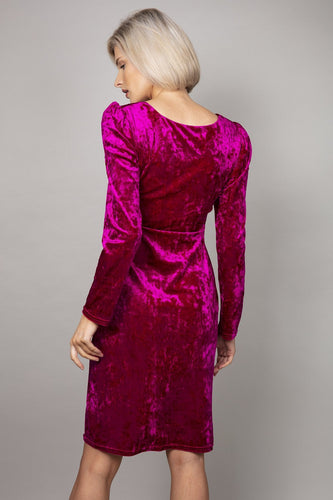 J'aime la Vie Dresses Side Ruched Velvet Dress in Fuschia