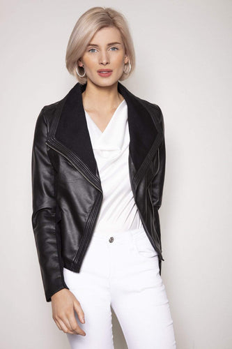 J'aime la Vie Jackets Black / S Side Zip PU Jacket in Black