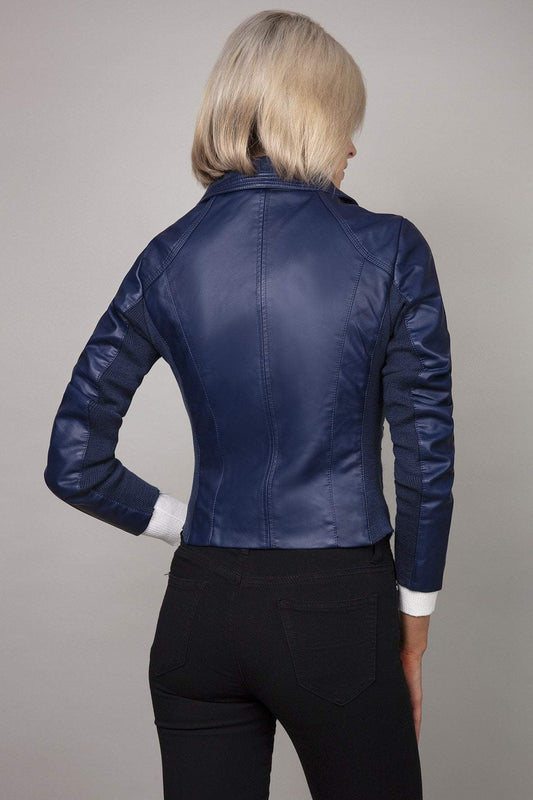 J'aime la Vie Jackets Side Zip PU Jacket in Navy